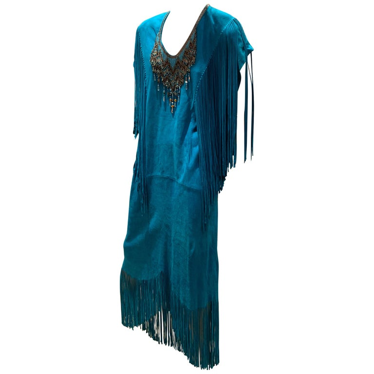 1970s Chic Skins Turquoise Suede Caftan W/ Suede & Heavy Beadwork Fringe  For Sale
