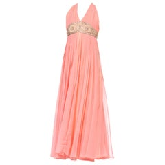 1970S Salmon Pink Polyester Chiffon Empire Waist Godess Gown With Crystal Beadi