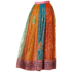 1970S Chiffon Indian Paisley Lame Hand Embroidered Multicolor Pleated Long Skirt