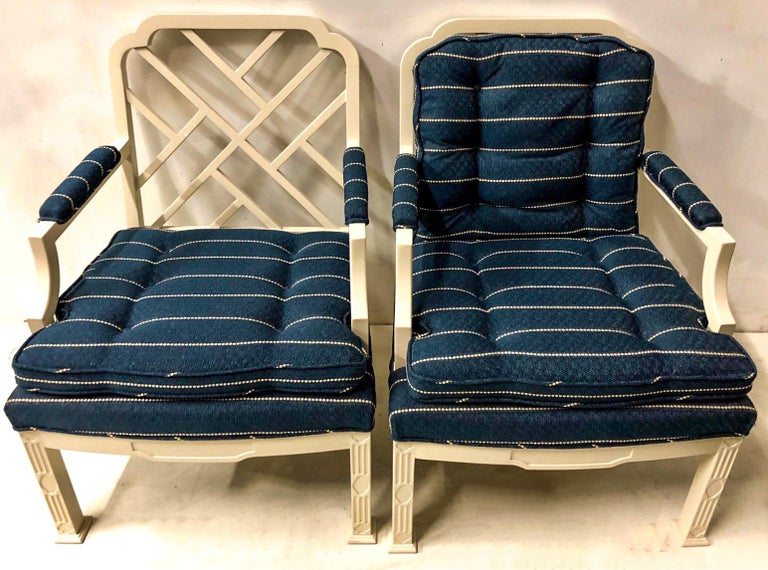 Late 20th Century 1970s Chinese Chippendale Style Chairs by Erwin Lambeth -A Pair For Sale