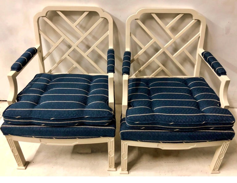 Linen 1970s Chinese Chippendale Style Chairs by Erwin Lambeth -A Pair For Sale