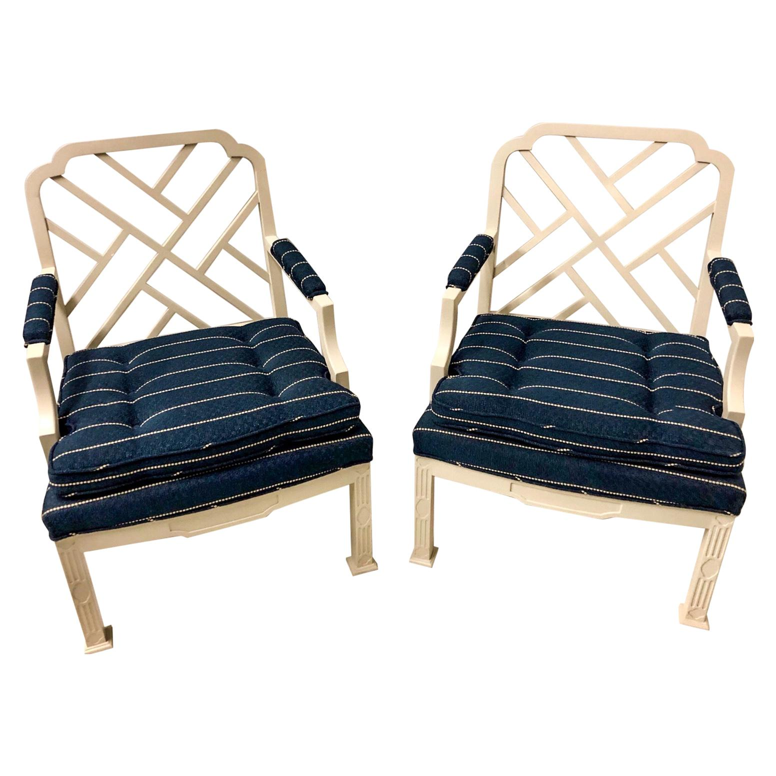 1970s Chinese Chippendale Style Chairs by Erwin Lambeth -A Pair