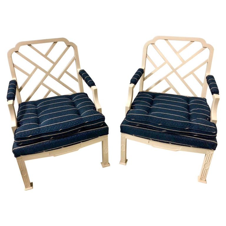 1970s Chinese Chippendale Style Chairs by Erwin Lambeth -A Pair For Sale