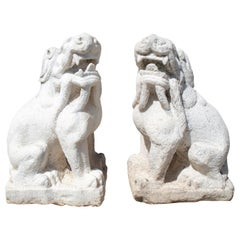 1970s Chinese Pair of Hand Carved White Marble Lions