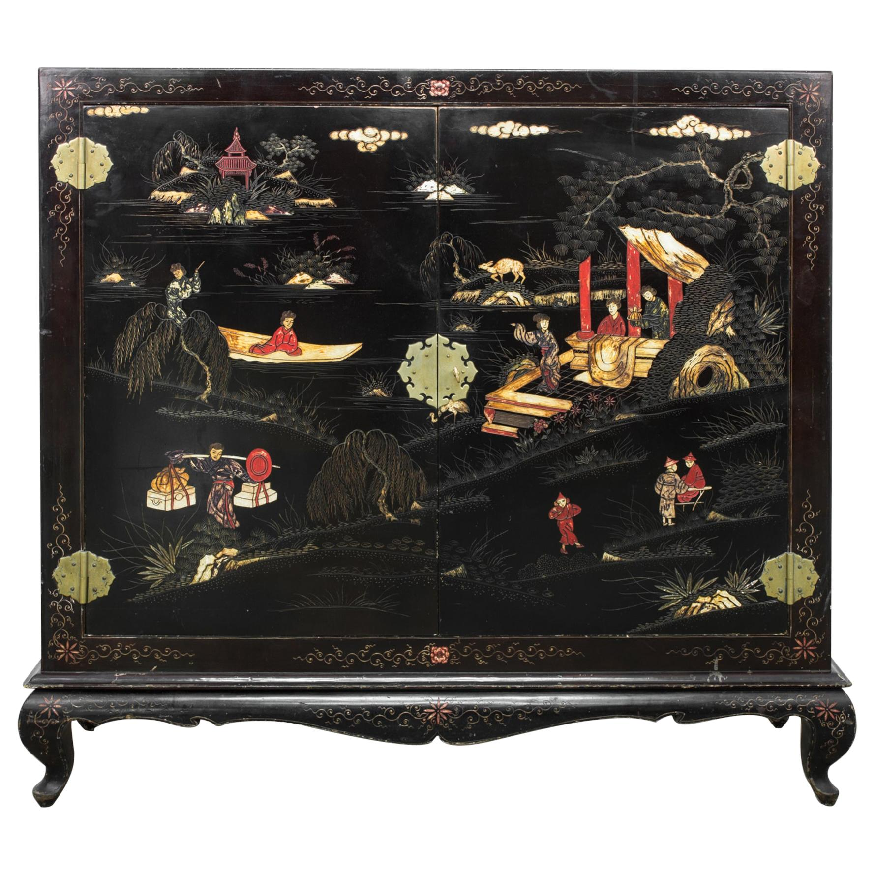1970s Chinese Wood Patinated Buffet