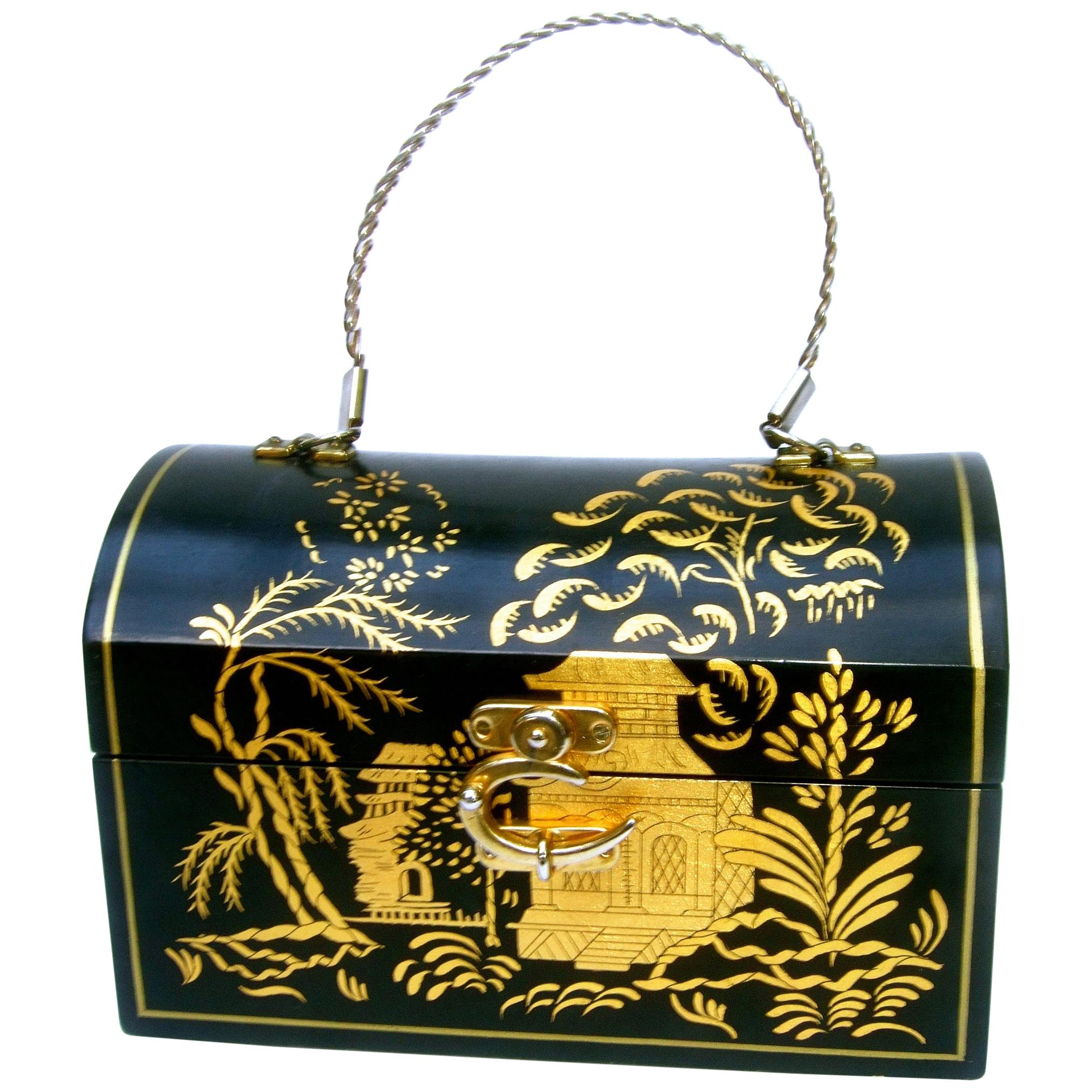 1970s Chinoiserie Black & Gold Hand Painted Wood Artisan Box Purse