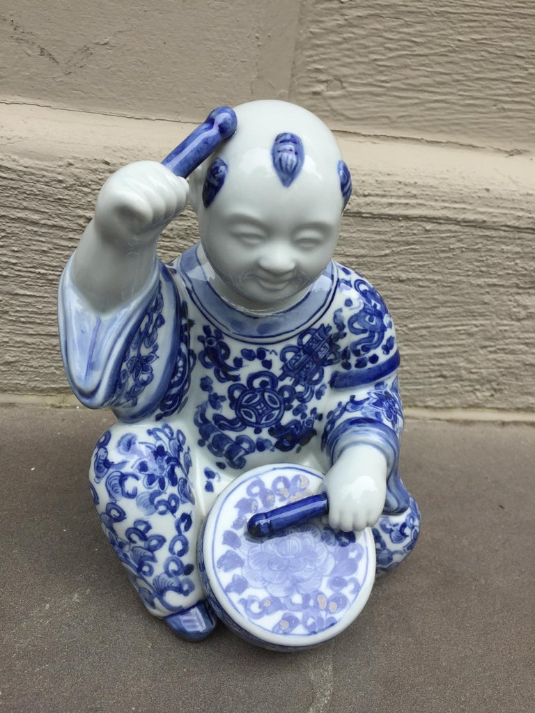 1970s, Chinoiserie Blue and White Porcelain Sculpture Baby Buddha with Drum For Sale 4