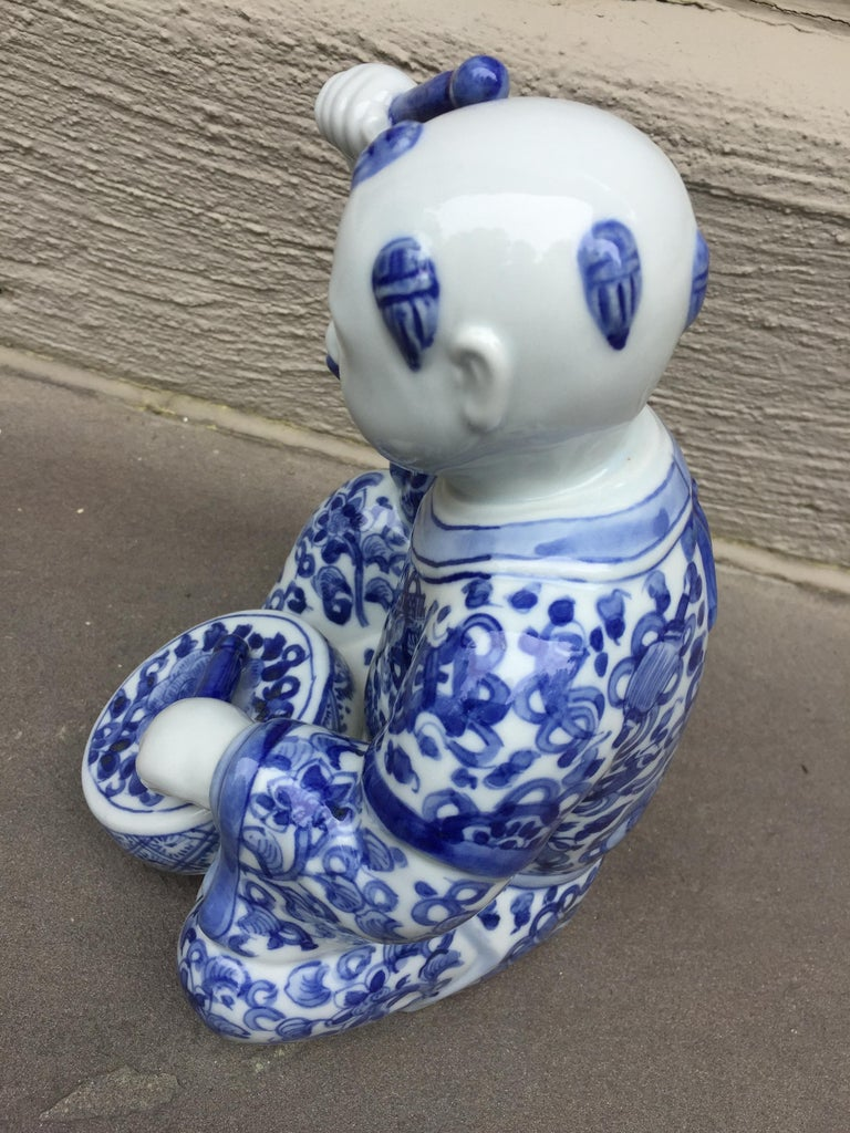 20th Century 1970s, Chinoiserie Blue and White Porcelain Sculpture Baby Buddha with Drum For Sale