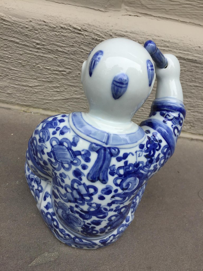 1970s, Chinoiserie Blue and White Porcelain Sculpture Baby Buddha with Drum For Sale 1