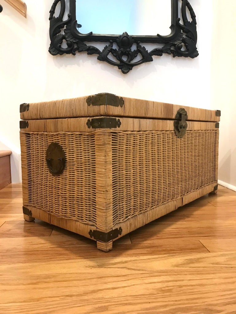 Campaign 1970s Chinoiserie Handwoven Wicker Trunk or Blanket Chest with Brass Hardware For Sale