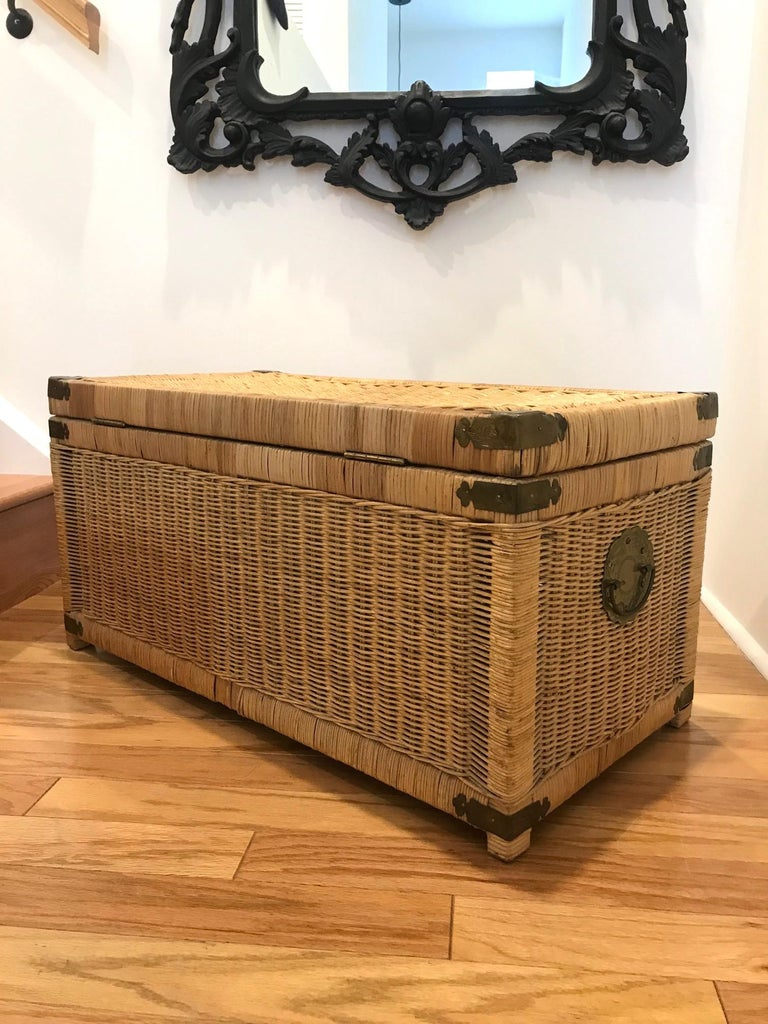 Hand-Crafted 1970s Chinoiserie Handwoven Wicker Trunk or Blanket Chest with Brass Hardware For Sale