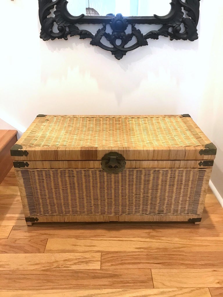 Late 20th Century 1970s Chinoiserie Handwoven Wicker Trunk or Blanket Chest with Brass Hardware For Sale