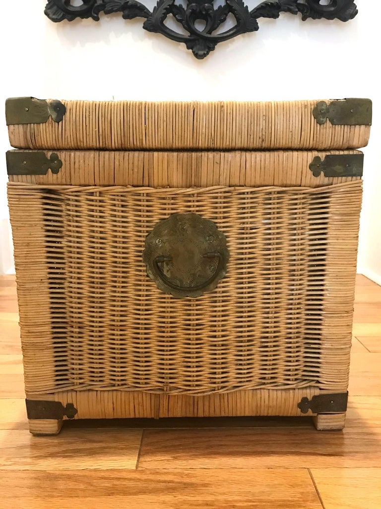 Wood 1970s Chinoiserie Handwoven Wicker Trunk or Blanket Chest with Brass Hardware For Sale
