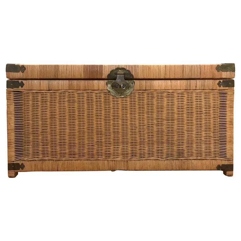 1970s Chinoiserie Handwoven Wicker Trunk or Blanket Chest with Brass Hardware For Sale