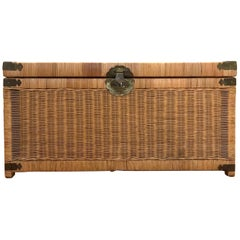 1970s Chinoiserie Handwoven Wicker Trunk or Blanket Chest with Brass Hardware