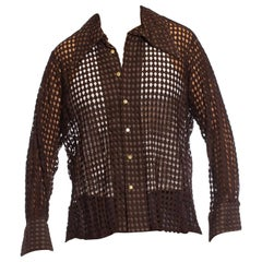 1970S Chocolate Brown Geometric Polyester Lace Sheer Men's Disco Shirt