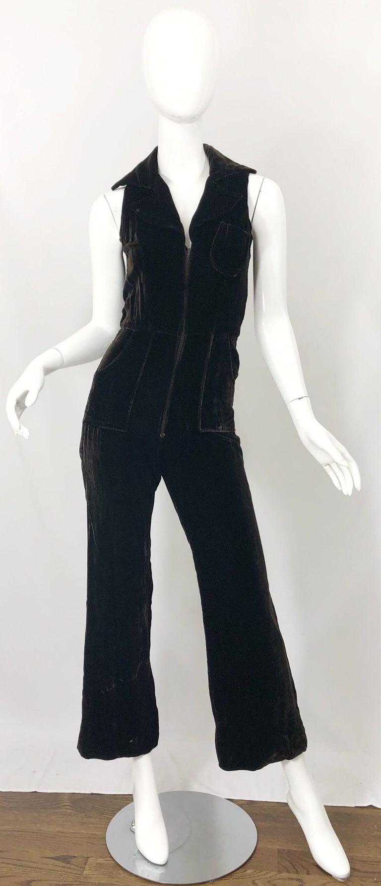 1970s Chocolate Brown Velvet Sleeveless Bell Bottom Wide Leg Vintage Jumpsuit  For Sale 8
