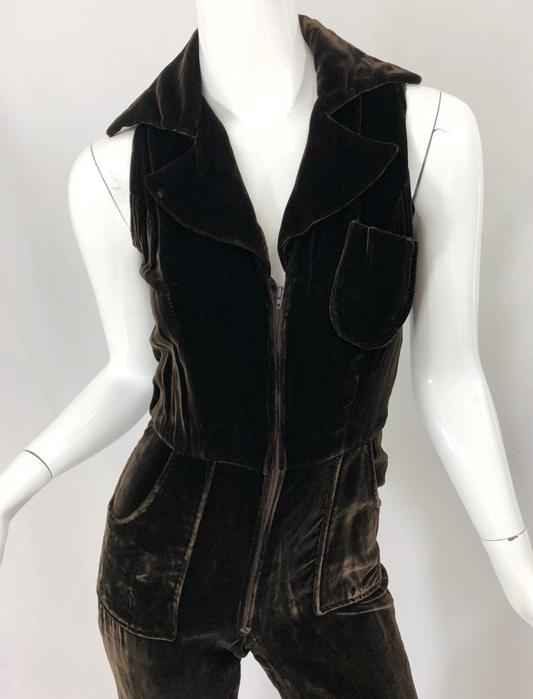 Black 1970s Chocolate Brown Velvet Sleeveless Bell Bottom Wide Leg Vintage Jumpsuit  For Sale