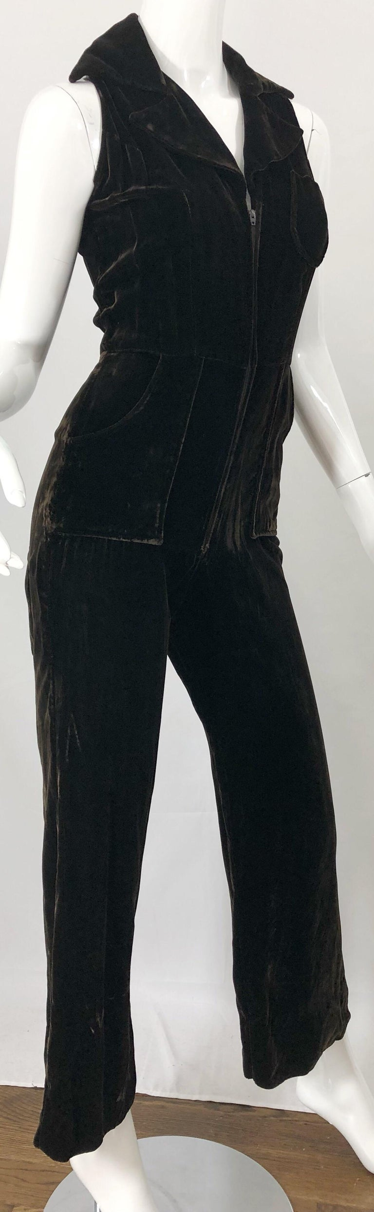 Women's 1970s Chocolate Brown Velvet Sleeveless Bell Bottom Wide Leg Vintage Jumpsuit  For Sale