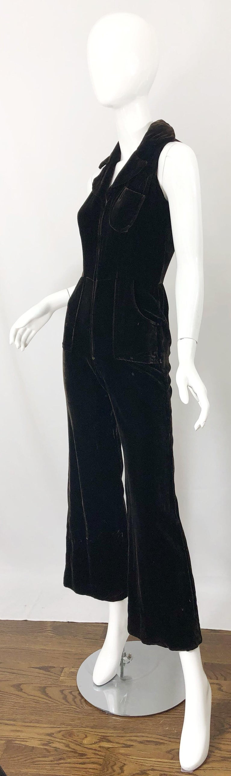 1970s Chocolate Brown Velvet Sleeveless Bell Bottom Wide Leg Vintage Jumpsuit  For Sale 1