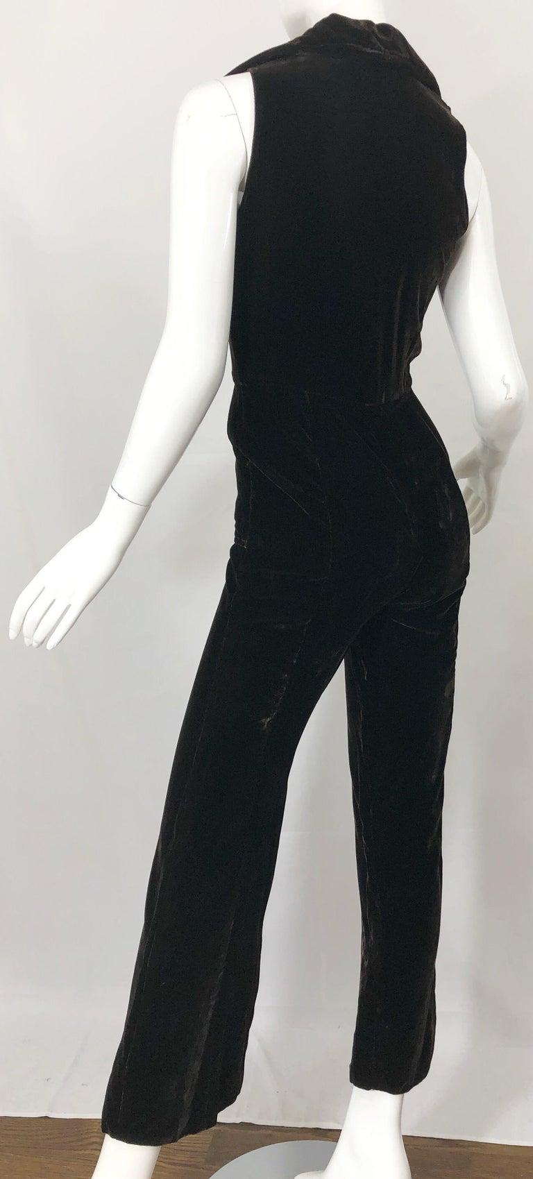 1970s Chocolate Brown Velvet Sleeveless Bell Bottom Wide Leg Vintage Jumpsuit  For Sale 2