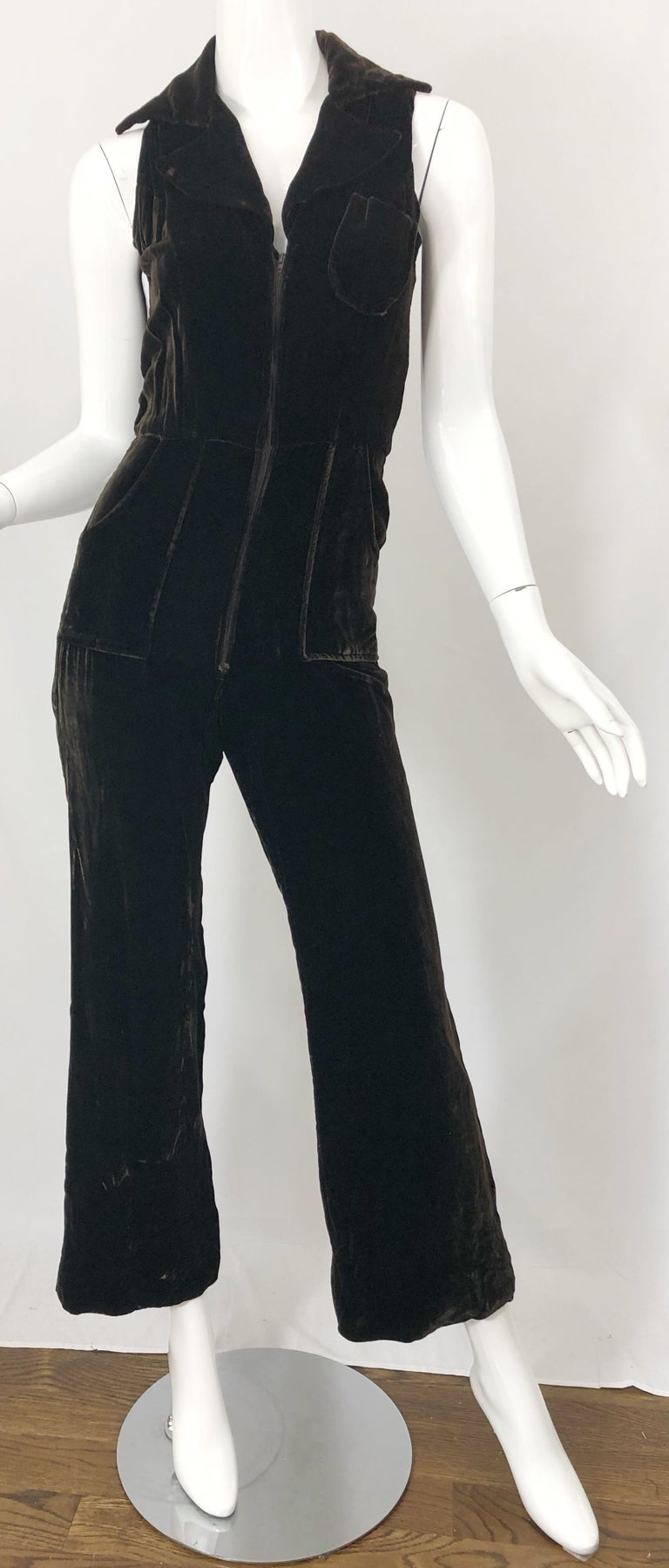 1970s Chocolate Brown Velvet Sleeveless Bell Bottom Wide Leg Vintage Jumpsuit  For Sale 4