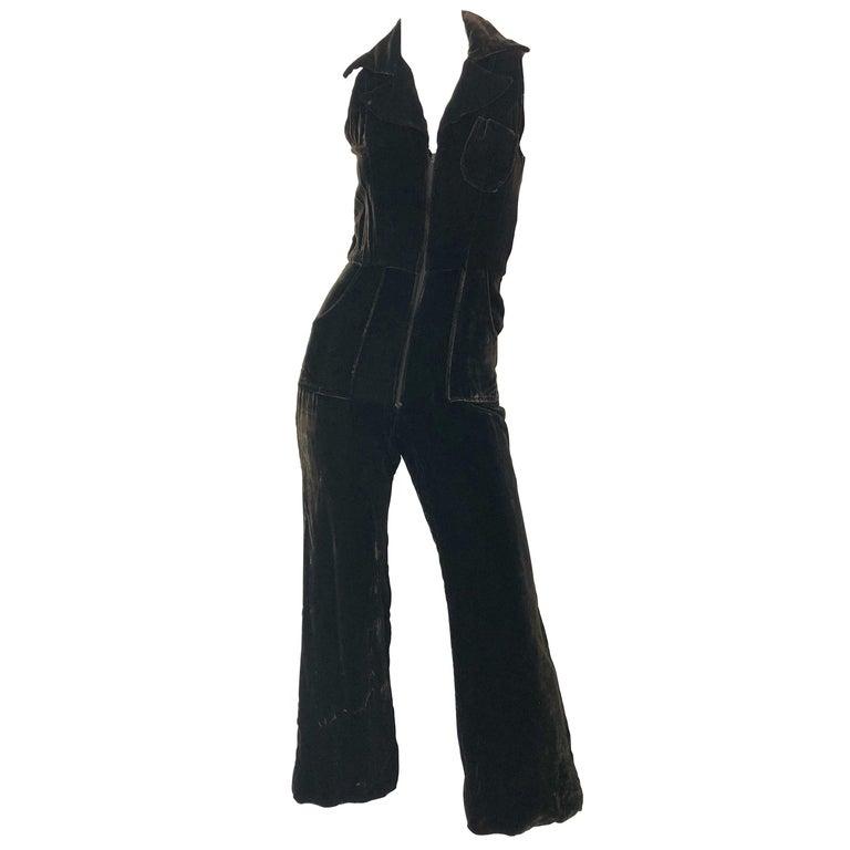 1970s Chocolate Brown Velvet Sleeveless Bell Bottom Wide Leg Vintage Jumpsuit  For Sale