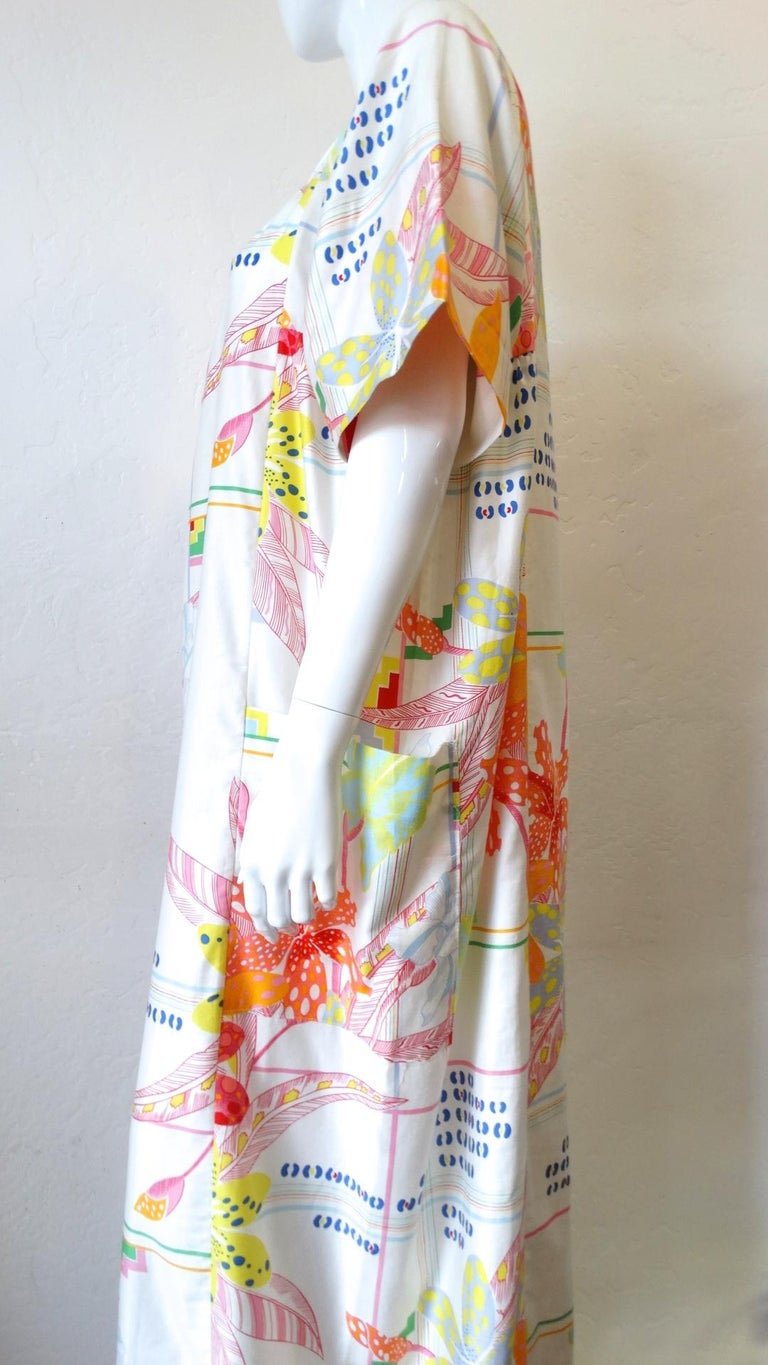 1970s Christian Dior Abstract Floral Lounge Dress For Sale 6
