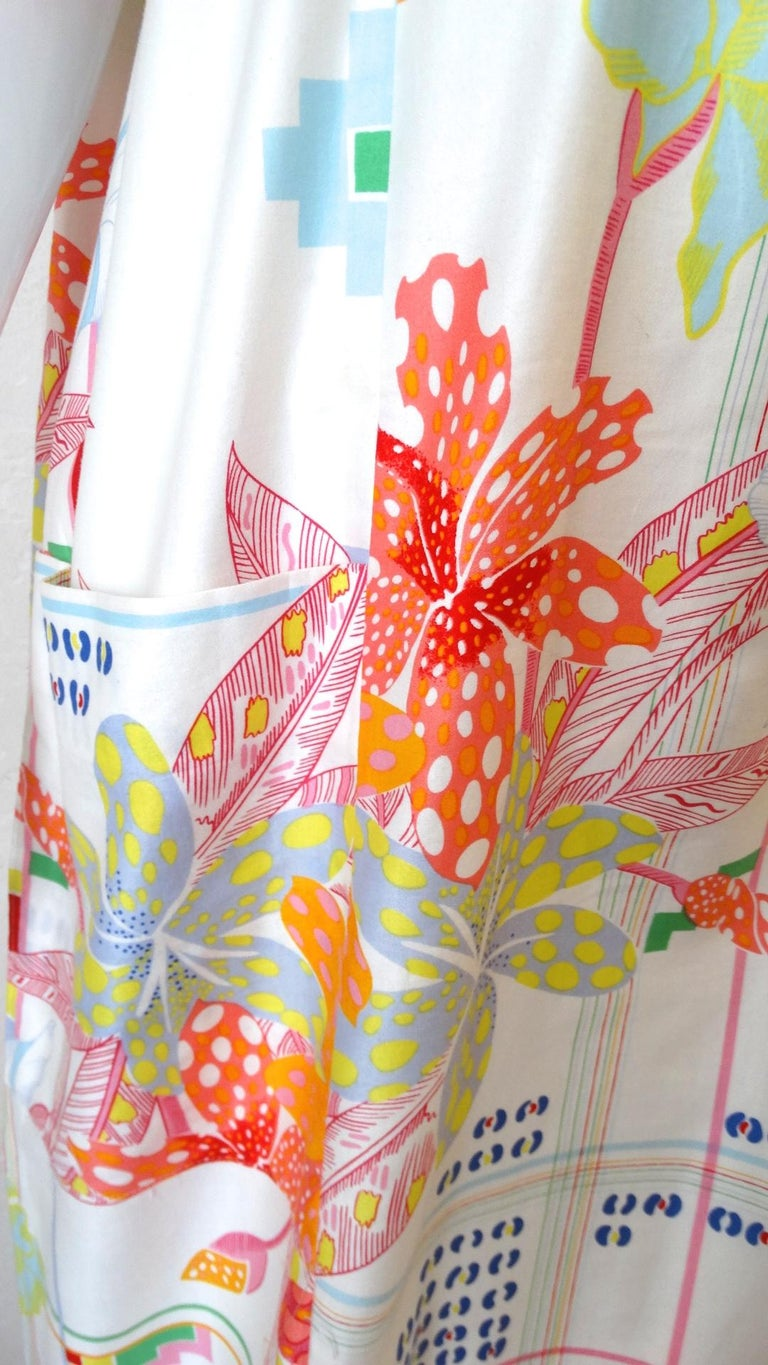 1970s Christian Dior Abstract Floral Lounge Dress For Sale 7