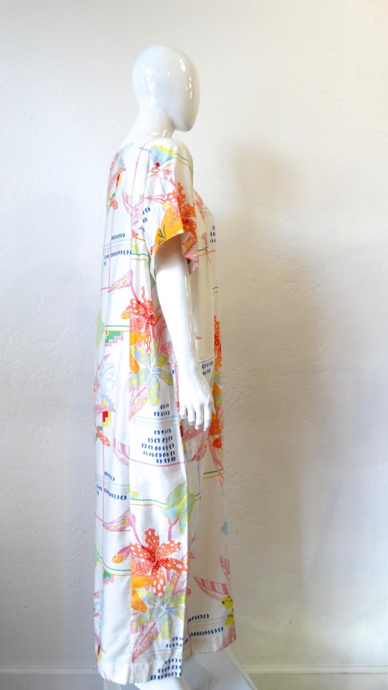 1970s Christian Dior Abstract Floral Lounge Dress For Sale 8