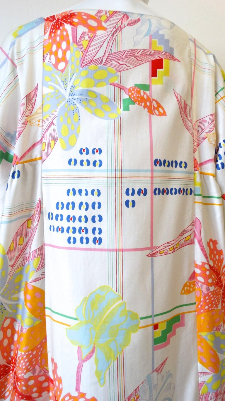 1970s Christian Dior Abstract Floral Lounge Dress For Sale 9