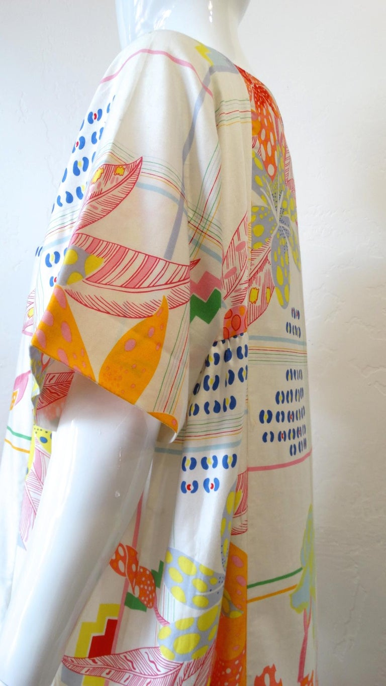 1970s Christian Dior Abstract Floral Lounge Dress For Sale 10