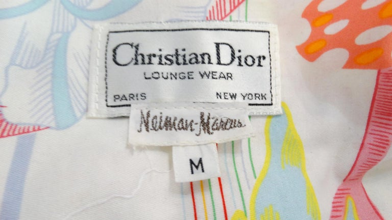 Women's or Men's 1970s Christian Dior Abstract Floral Lounge Dress For Sale