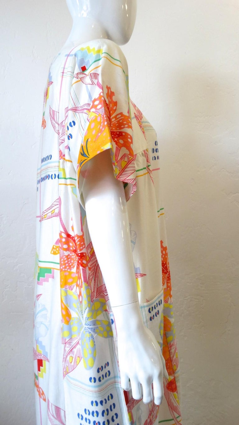 1970s Christian Dior Abstract Floral Lounge Dress For Sale 1