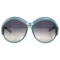 1970s Christian Dior Bright Blue Sunglasses