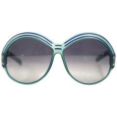 1970s Christian Dior Bright Blue Sunglasses