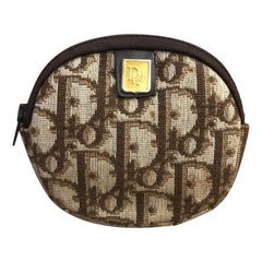1970s CHRISTIAN DIOR Brown Trotter Jacquard Coin Pouch (Modified)