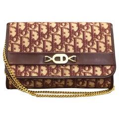 1970s CHRISTIAN DIOR Burgundy Trotter Chain Shoulder Bag