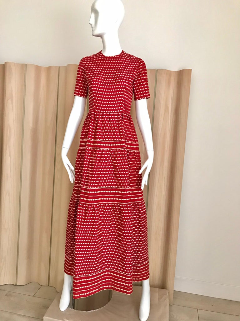 "Vintage Dior by Marc Bohan red silk dress with white dots.  Size : XS/ S Measurement :  32"" Bust / 24"" waist"