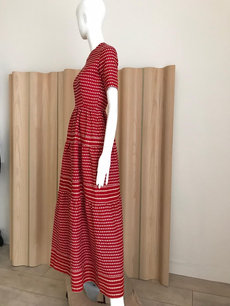 1970s  Christian Dior By Marc Bohan Red Silk  Dress For Sale 2
