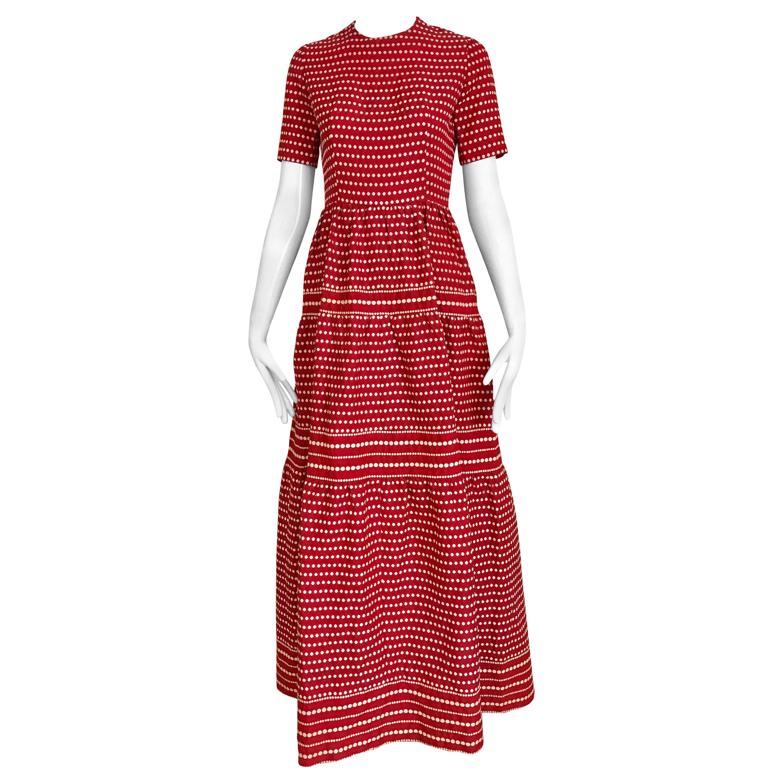 1970s  Christian Dior By Marc Bohan Red Silk  Dress