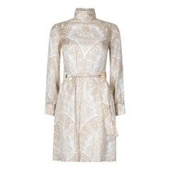 1970s Christian Dior Cream and Caramel Silk Dress
