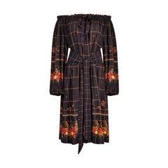 1970s Christian Dior Crepe Smock Dress With Gathered Bardot Neckline