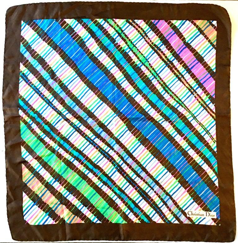 1970'S Striped Diagonal Geometric Silk Scarf By, Christian Dior.. This 28