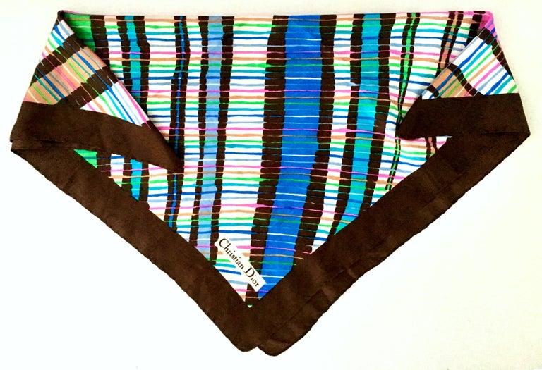 Black 1970'S Christian Dior Geometric Stripe Silk Scarf For Sale