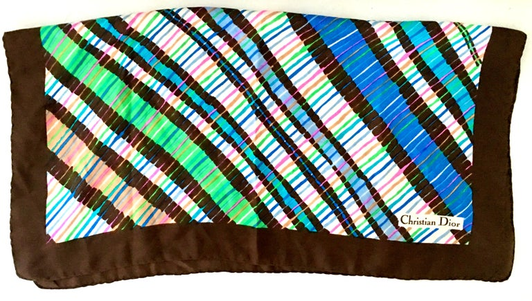 1970'S Christian Dior Geometric Stripe Silk Scarf In Good Condition For Sale In West Palm Beach, FL