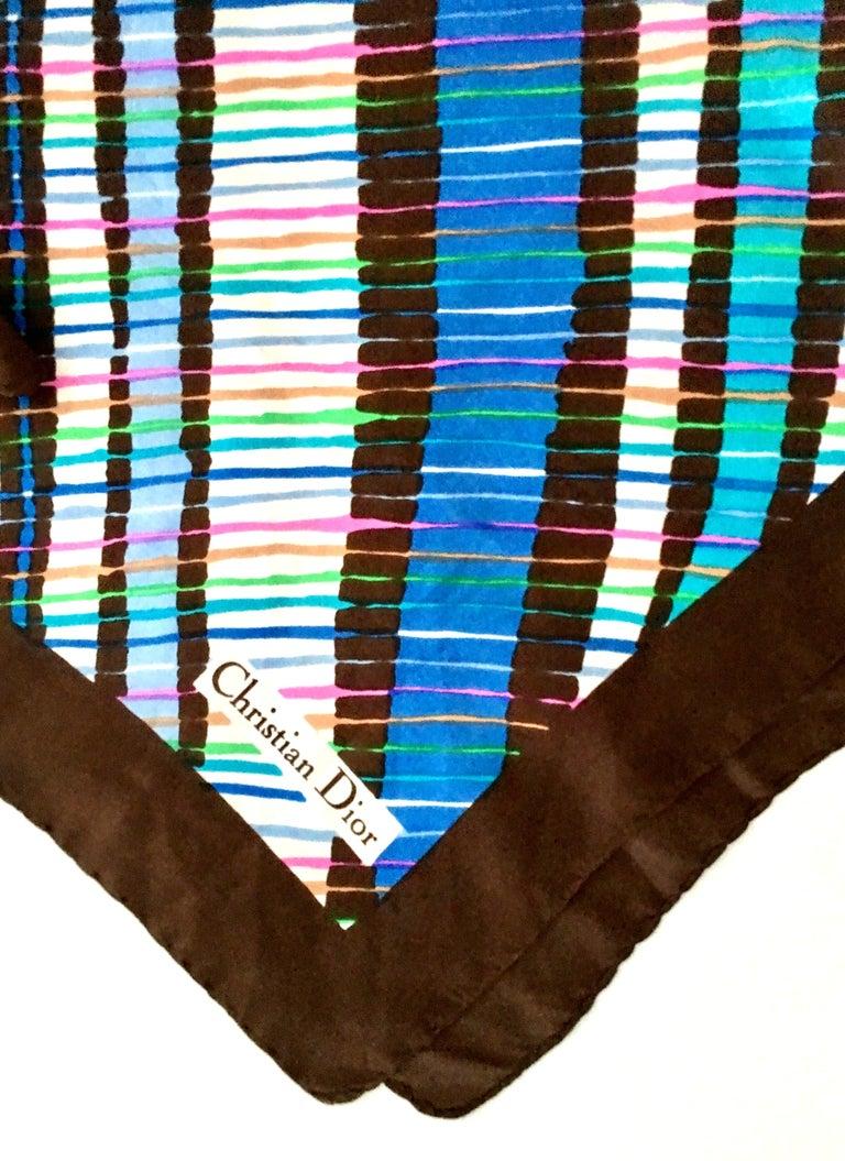 Women's or Men's 1970'S Christian Dior Geometric Stripe Silk Scarf For Sale