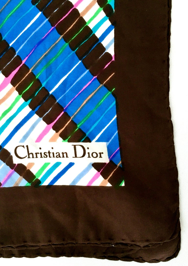 1970'S Christian Dior Geometric Stripe Silk Scarf For Sale 1