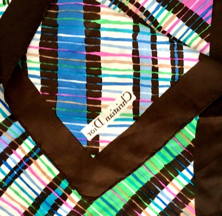 1970'S Christian Dior Geometric Stripe Silk Scarf For Sale 2