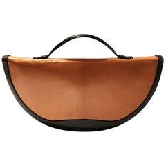 1970s Christian Dior half moon leather brown black hand bag